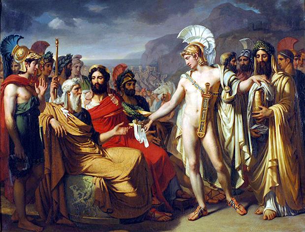 パトロクロス葬式試合にてネストールとアキレウス(トロイア戦争時)