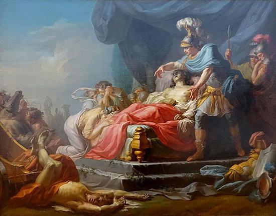 アキレウス、ヘクトルの遺体を見せる