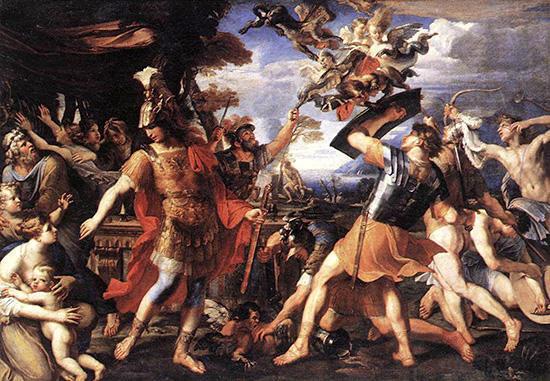 ハルピュイアと戦うアイネイアースたち