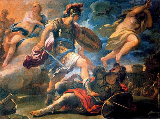 アイネイアース、トゥルヌスを倒す