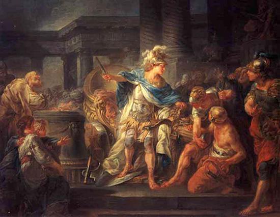 ゴルディアスの結び目を断ち切るアレクサンドロス大王