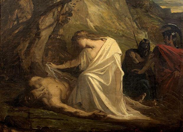 ポリュネイケスを弔うアンティゴネ