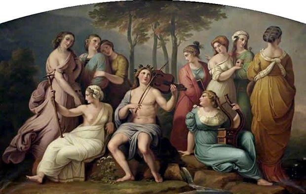 パルナッソス山にあるアポローンとムーサたち
