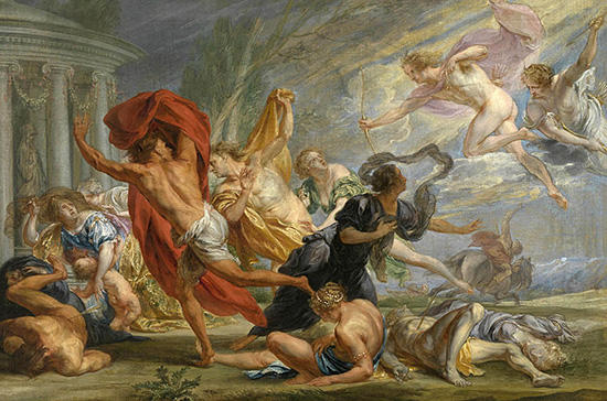 アポローンとアルテミス、ニオベーの子供を射殺