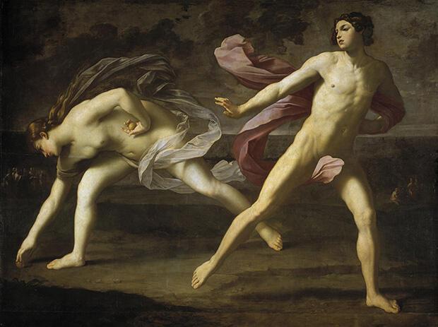 ヒッポメネースの投げる黄金の林檎を拾うアタランテー