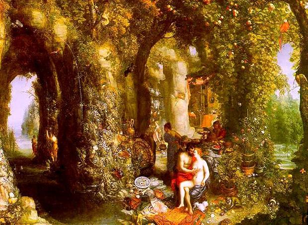 オデュッセウスとカリュプソのいる幻想的な洞窟