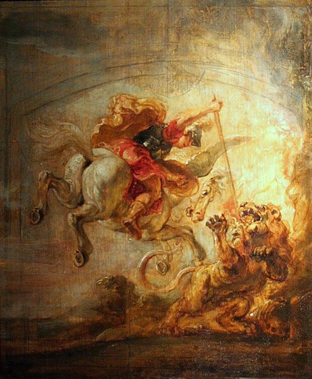 ドラクロア「ペレロポンに退治されるキマイラ」