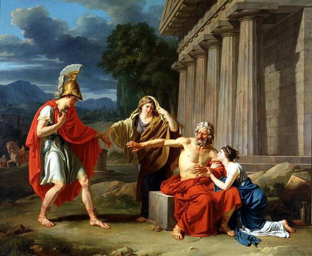 息子ポリュネイケスとオイディプス