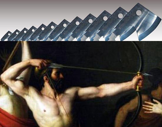 12の斧の穴を通す弓の競技