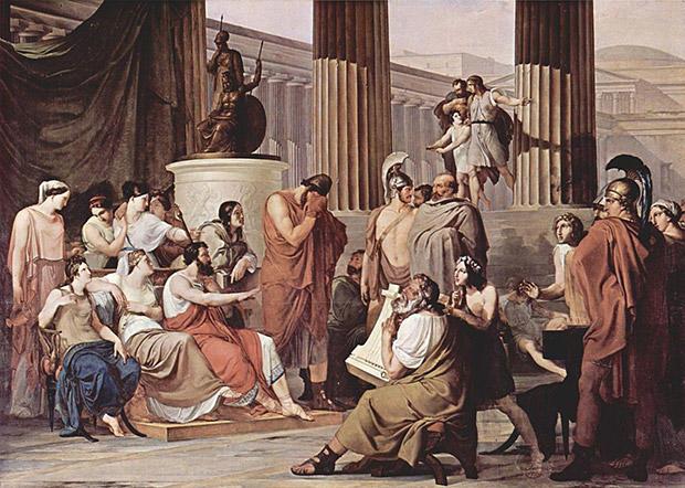 楽人のトロイア物語に落涙するオデュッセウス