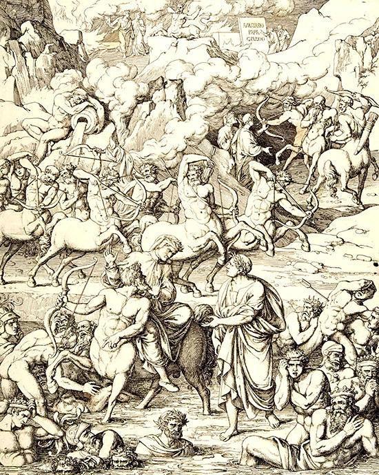 ダンテとヴィルジリオを案内するケンタウロス族ネッソス