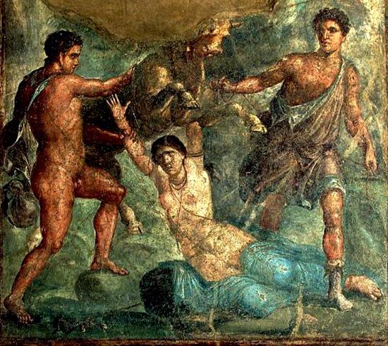 古代ローマ時代のポンペイの壁画〈ディルケーの拷問〉