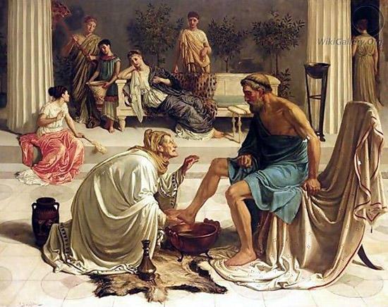 老女エウリュクレイア、オデュッセウスに気づく