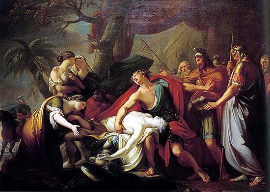 パトロクロスの死を嘆くアキレウス