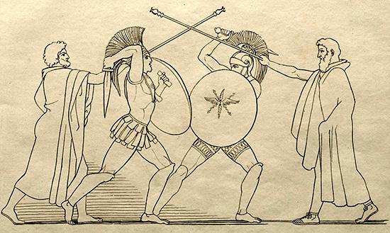 ヘクトルとアイアスの一騎打ちを止める伝令使