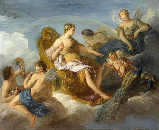 ヘーラーと虹の女神イーリスと花の女神フローラ