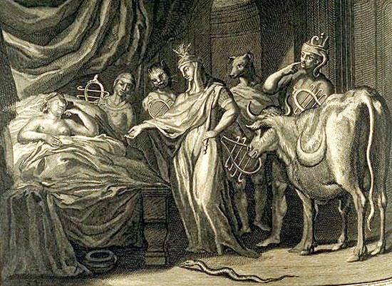 テレトゥーサの枕元に出現するイシス神たち