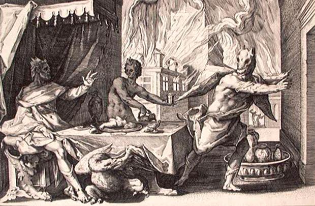 ゼウスの怒りによって狼に変えられたリュカオン