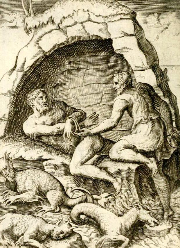 メネラオス、海の翁プロテウスを捕える。