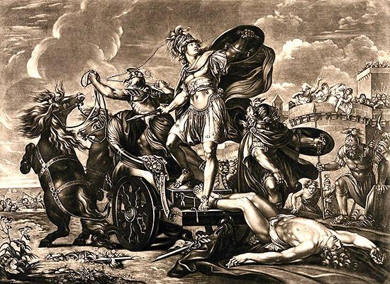 ヘクトルの遺体を引いているアキレス