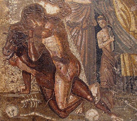 ミノタウロスを退治するテーセウス