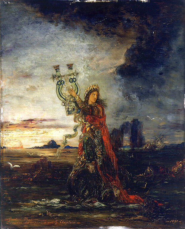 モロー:アリオン、オルペウスに次ぐ詩人・音楽家