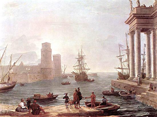 パイエケス人の島から船出するオデュッセウス
