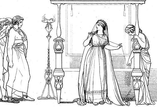 機を織るペーネロペイアと求婚者たち