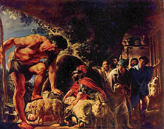 ポリュペモスの洞穴にいるオデュッセウス