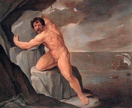 船に大岩を投げるポリュペモス