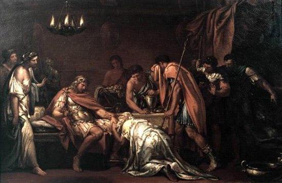 ヘクトルの遺体を返すよう懇願するプリアモス