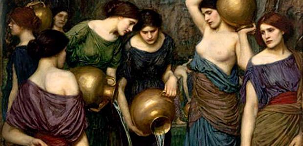 ダナオスの娘たち:穴の開いた壺に水汲み