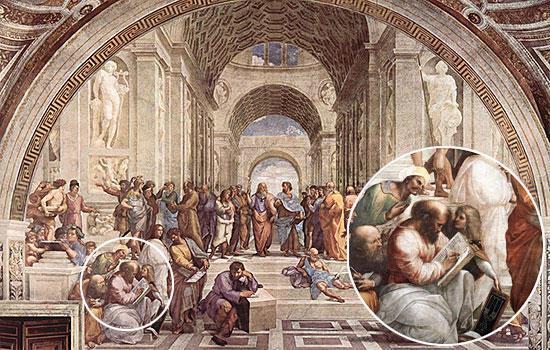 ラファエッロ「アテナイの学堂」のピタゴラス