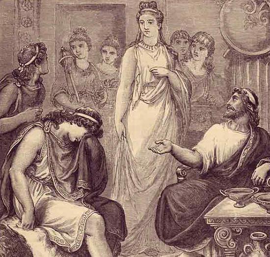 メネラオスの宮殿の嘆くテレマコス