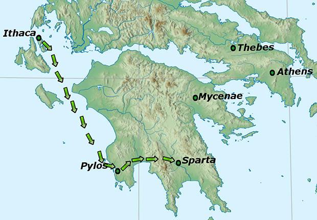 テレマコス、ピュロスからスパルタへ。