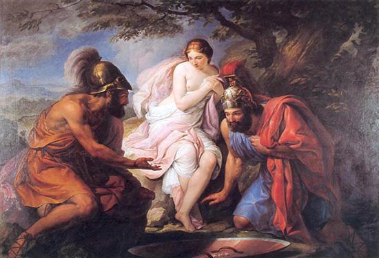 ヘレネとサイコロで遊ぶテセウスとペイリトオス