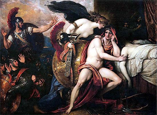 テティス、新しい武具をアキレウスに届ける