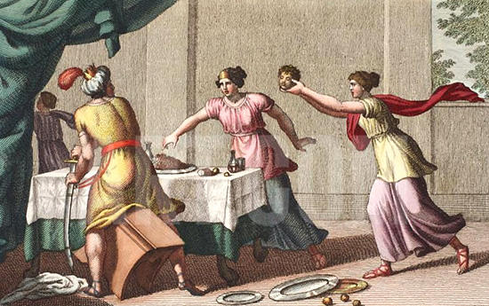 テーレウスにイチュスの首を見せるピロメラ